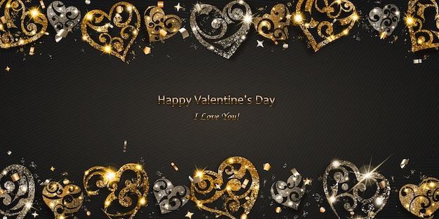 Carte de saint-valentin avec des coeurs brillants d'argent et d'or scintille avec des reflets et des ombres sur fond sombre