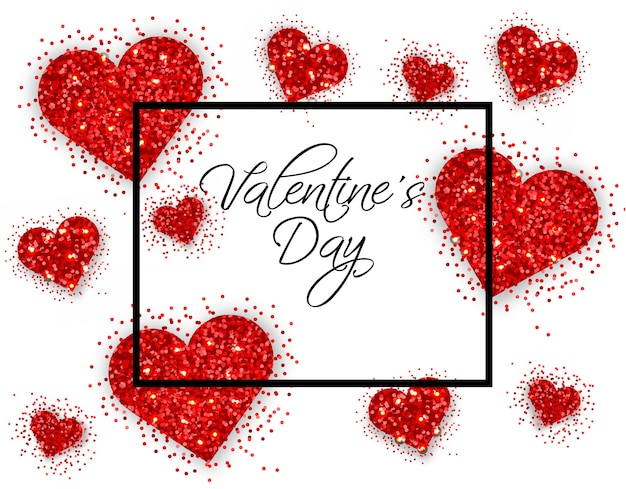 Carte de saint valentin coeurs paillettes rouges