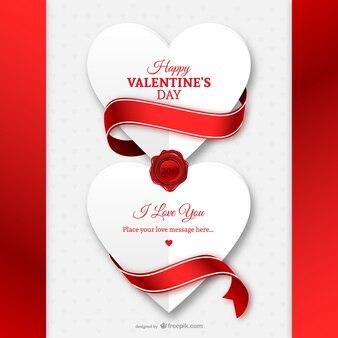 Carte saint valentin avec des coeurs de papier