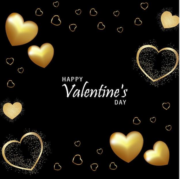 Carte de la saint-valentin, coeurs réalistes, or et argent