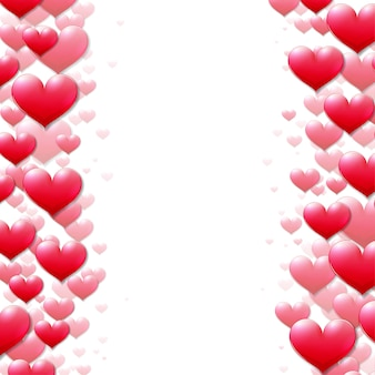 Carte de saint valentin avec des coeurs violets épars