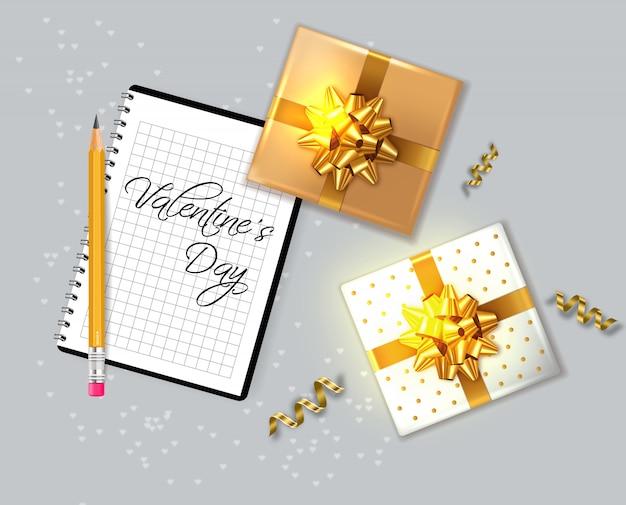 Carte de saint valentin avec des coffrets cadeaux