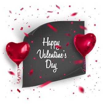 Carte de saint valentin avec des confettis et des ballons réalistes.