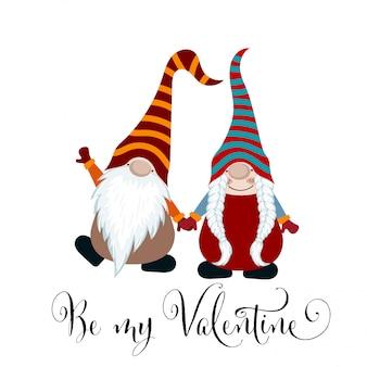 Carte de saint valentin avec couple de gnomes amoureux