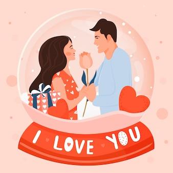 Carte de saint valentin avec couple heureux.