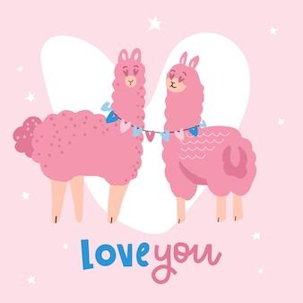 Carte de saint valentin avec un couple de lama mignon.