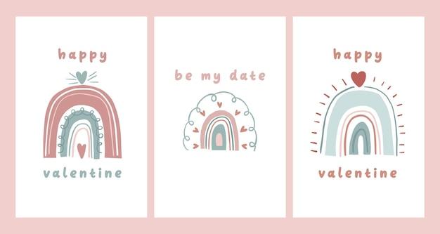 Carte de saint valentin dédicace note lettre d'amour conception de dessin animé scandinave mignon