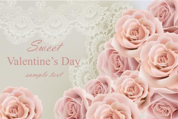 Carte de saint valentin avec délicates roses et dentelle vector