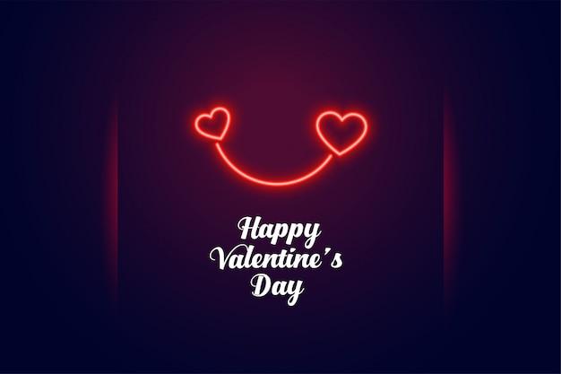 Carte de saint valentin deux coeurs au néon