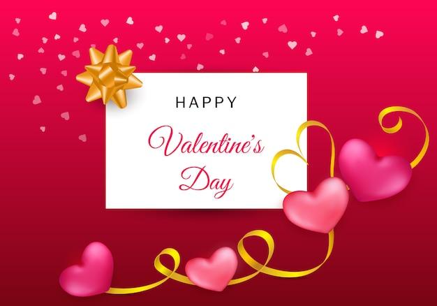 Carte de saint valentin avec deux coeurs et bande dorée