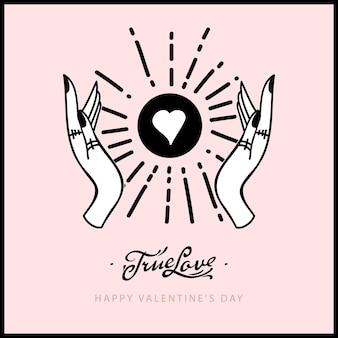 Carte de la saint-valentin ésotérique ethnique avec les mains, la lune, le cœur. l'amour vrai. tiré par la main magique, doodle, style de ligne de croquis.
