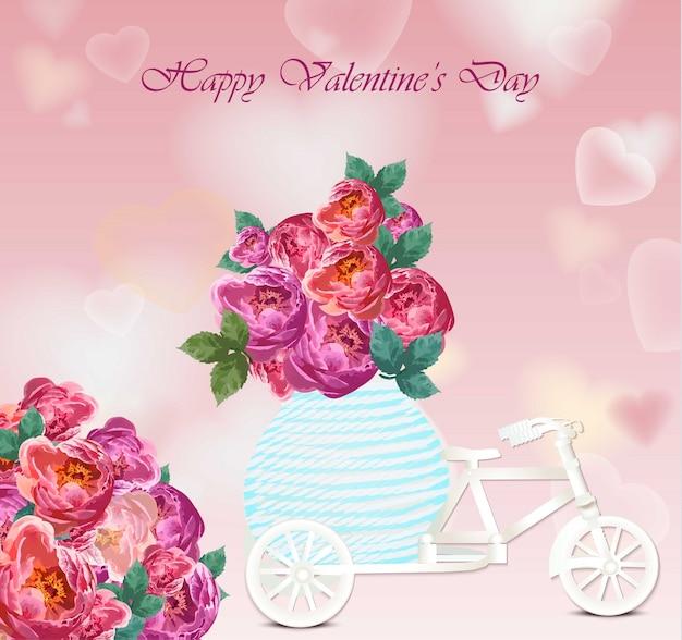 Carte de saint valentin. fleurs de pivoine coeur forme fond vecteur