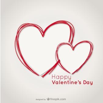 Carte saint-valentin avec gribouillis cardiaques