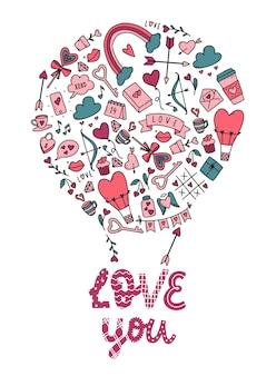 Carte de la saint-valentin avec griffonnages et citation