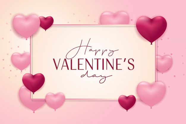 Carte de saint valentin heureuse avec ballon réaliste en forme de coeur rose et violet