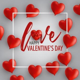 Carte de la saint-valentin heureuse avec des ballons coeur et cadre