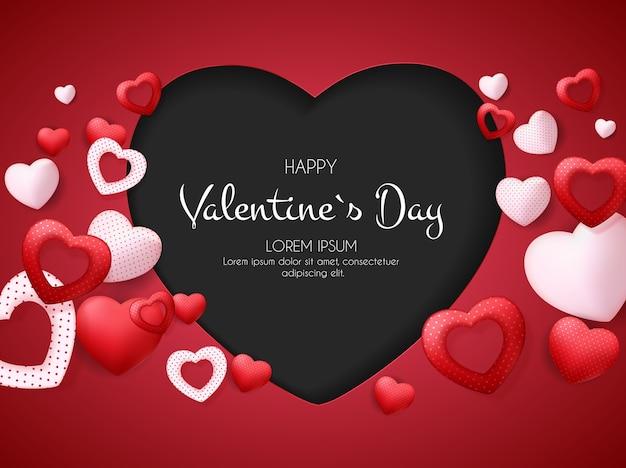 Carte de saint valentin heureuse avec coeur.