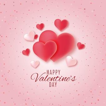 Carte de saint valentin heureuse avec des coeurs sur rose en pointillé