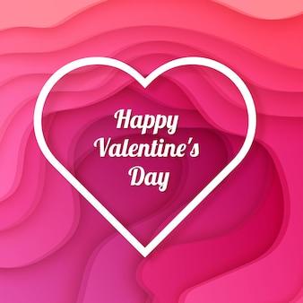 Carte de saint valentin heureuse avec un fond avec un design découpé en papier de couleur rose foncé