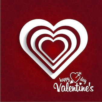Carte de saint valentin heureuse avec fond rouge