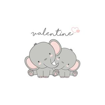 Carte de saint valentin. joli couple éléphant amoureux