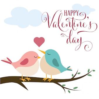 Carte de saint valentin avec de jolis oiseaux amoureux