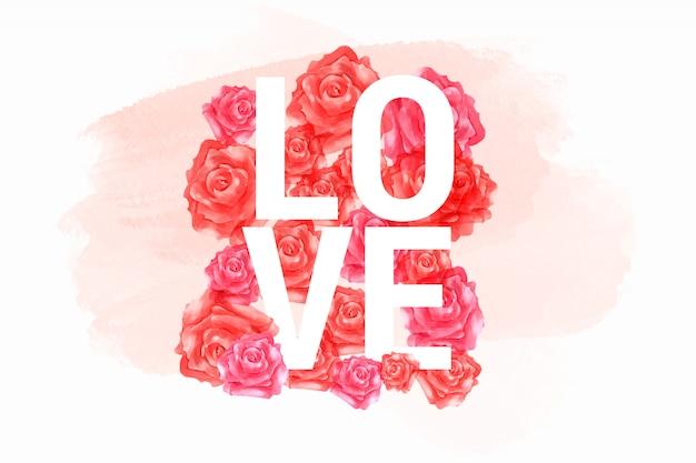 Carte de saint valentin lettre d'amour en aquarelle roses rouges et roses