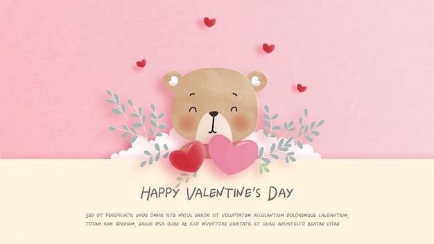 Carte de saint valentin avec mignon ours en peluche en illustration de style papier découpé.