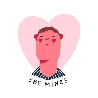 Carte de saint valentin mignonne avec homme amoureux sur coeur rose. soyez mon lettrage.