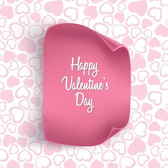 Carte de saint valentin avec motif coeur transparent et papier réaliste.