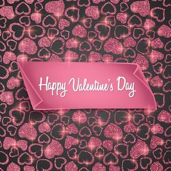 Carte de saint valentin avec motif coeur transparent, texture scintillante et papier réaliste.