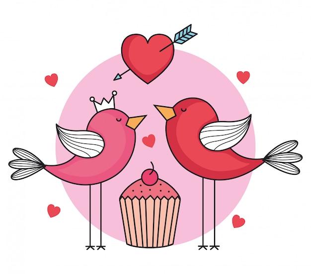 Carte de saint valentin avec oiseaux et cupcake