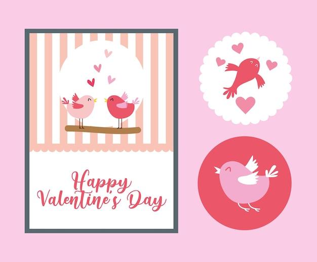 Carte de saint valentin avec des oiseaux mignons et des autocollants.
