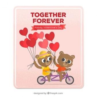 Carte saint-valentin avec des ours en peluche sur un vélo
