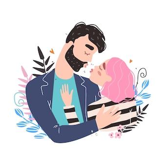 Carte de la saint-valentin avec des personnages mignons. couple romantique amoureux s'embrasser. journée mondiale des baisers. illustration