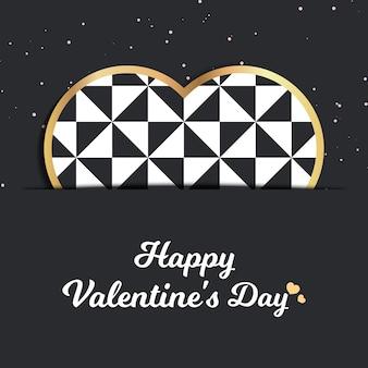Carte de saint valentin pour modèle de vacances avec illustration de coeurs géométriques. modèle de style créatif et luxueux