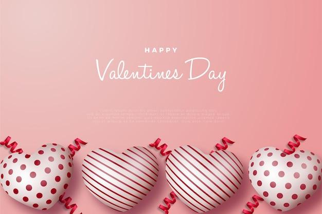 Carte de la saint-valentin avec quatre ballons d'amour brillants en bas.