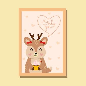 Carte de la saint-valentin avec un renne