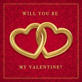 Carte de saint valentin rouge avec deux coeurs dorés