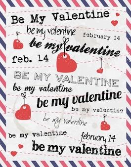 Carte saint-valentin avec le style de la lettre