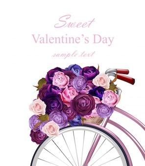 Carte de saint valentin avec vélo et bouquet de fleurs vector. carte de voeux design romantique
