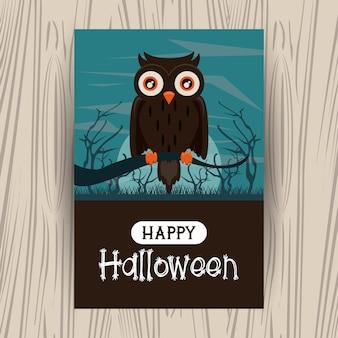 Carte de saison halloween heureuse avec des dessins animés
