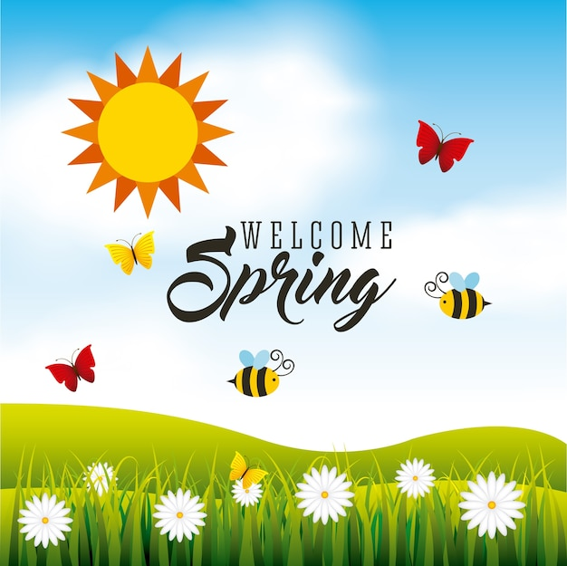 Carte de saison de printemps avec des papillons et des abeilles