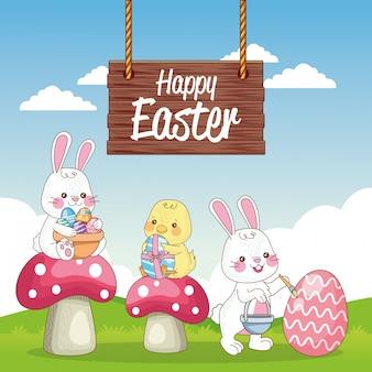 Carte saisonnière joyeuses pâques avec lapins et petit poussin au camp