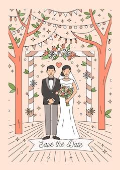 Carte save the date avec heureux couple de jeunes mariés