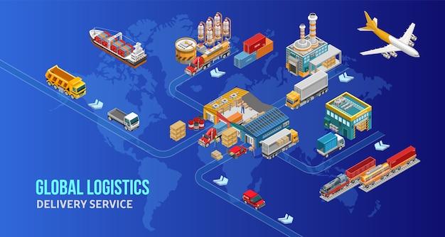 Carte de service de livraison représentée sur la carte du monde