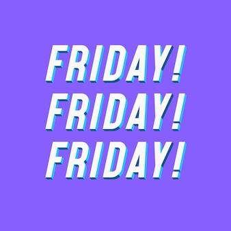 Carte avec signe vendredi avec bannière typographique moderne à vendre
