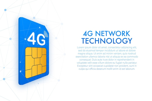 Carte sim 4g. vue isométrique. symbole de la technologie des télécommunications mobiles. illustration vectorielle.