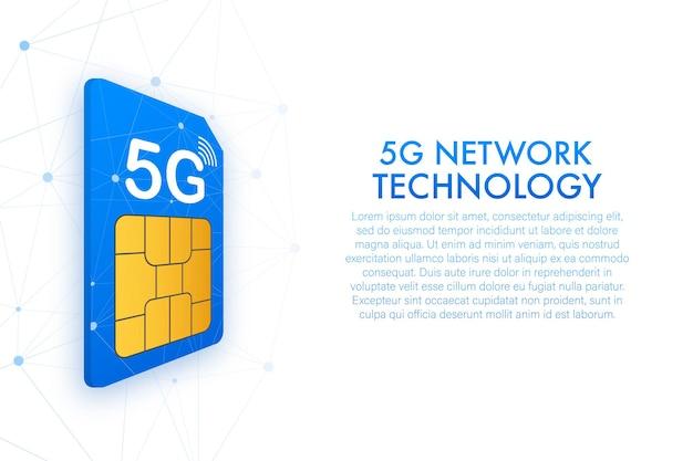 Carte sim 5g. vue isométrique. symbole de la technologie des télécommunications mobiles. illustration vectorielle.