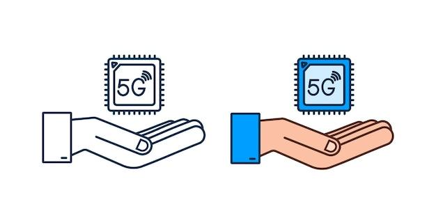 Carte sim intégrée 5g esim avec concept de symbole d'icône de mains nouvelle puce mobile cellulaire